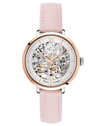 AUTOMATIC Ladies Watch AUTOMATIC Silver Dial Rose Gold colour Leather Strap