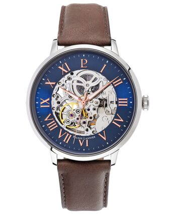 AUTOMATIC Men's Watch Blue Dial Brown Leather Strap
