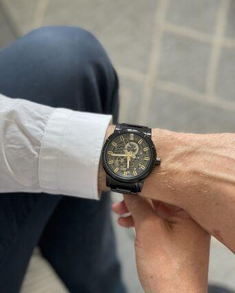 Montre Homme AUTOMATIC Cadran Noir Bracelet Acier Noir