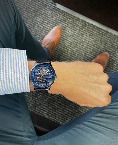 Montre Homme IMPACT Cadran Bleu Bracelet Acier Milanais Bleu