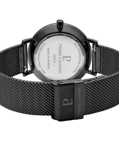 Coffret Homme ECHO Cadran Noir Bracelet Acier Milanais Noir