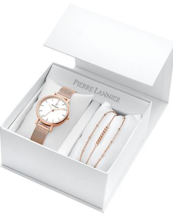 Quartz Ladies set SYMPHONY White Dial Rose Gold colour Mesh steel Strap