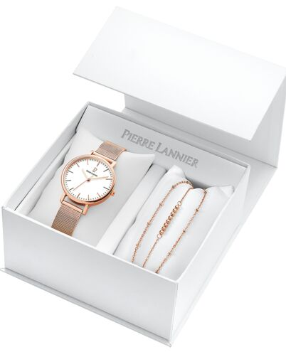 Coffret Femme SYMPHONY Cadran Blanc Bracelet Acier milanais Doré rose