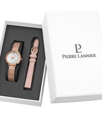 Coffret Femme PETITE CRISTAL Cadran Blanc Bracelet Acier milanais Doré rose