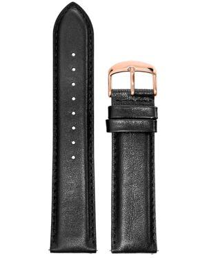 BRACELET HOMME CUIR NOIR BOUCLE DORE ROSE 22mm