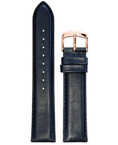 BRACELET HOMME CUIR BLEU BOUCLE ROSE DORE 20mm