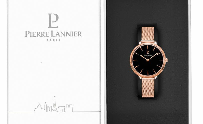 Montre Femme CAPRICE Cadran Noir Bracelet Acier milanais Doré rose