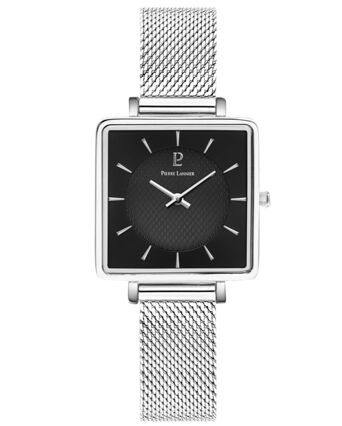 Quartz Ladies Watch LECARÉ Black Dial Silver Mesh steel Strap