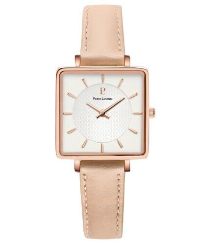 Quartz Ladies Watch LECARÉ White Dial Rose Gold colour Leather Strap