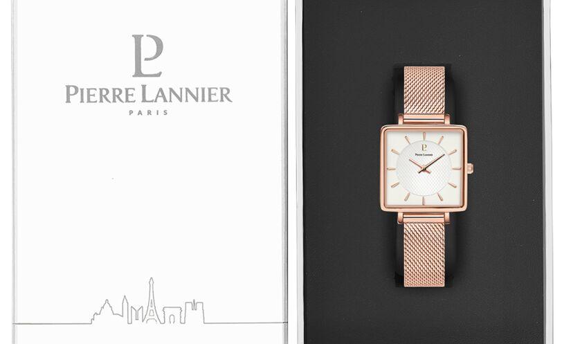Montre Femme LECARÉ Cadran Blanc Bracelet Acier milanais Doré rose