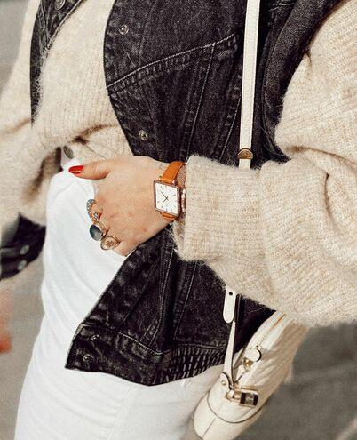 Quartz Ladies Watch LECARÉ White Dial Camel Leather Strap