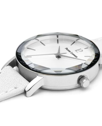 Quartz Ladies Watch MULTIPLES White Dial White Leather Strap