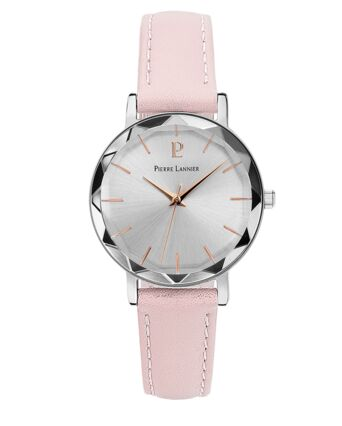 Quartz Ladies Watch MULTIPLES Silver Dial Rose Gold colour Leather Strap