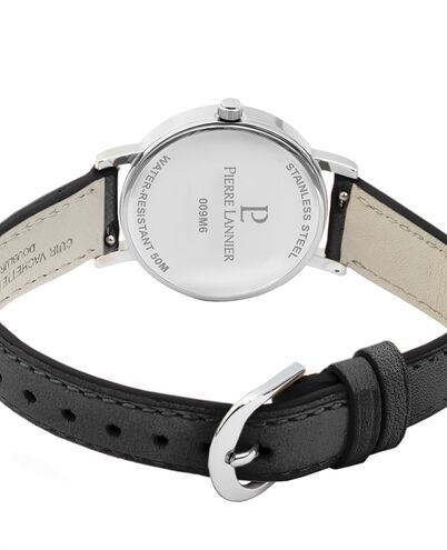 Quartz Ladies Watch MULTIPLES Black Dial Black Leather Strap