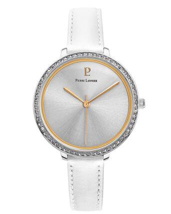 Quartz Ladies Watch COUTURE Silver Dial White Leather Strap
