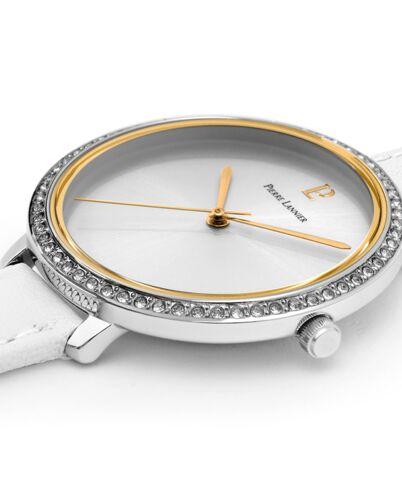 Montre Femme COUTURE Cadran Argenté Bracelet Cuir Blanc