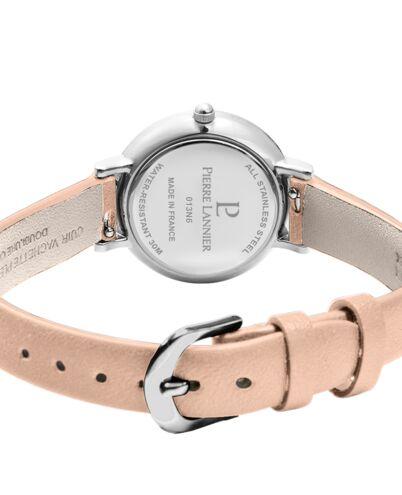 Montre Femme NOVA Cadran Argenté Bracelet Cuir Rose