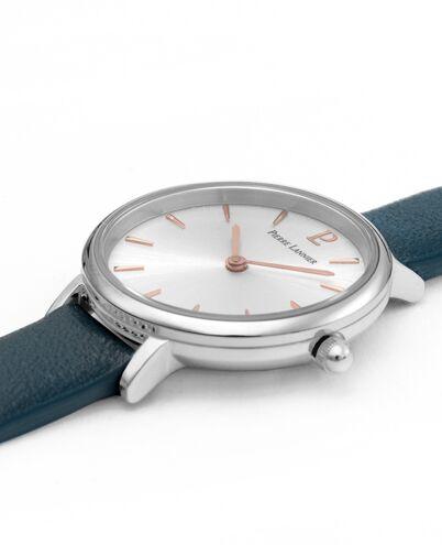 Montre Femme NOVA Cadran Argenté Bracelet Cuir Bleu