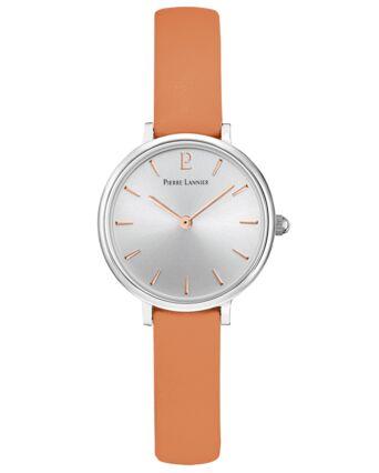 Montre Femme NOVA Cadran Argenté Bracelet Cuir Orange