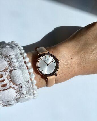 Montre Femme NOVA Cadran Blanc Bracelet Cuir Sable
