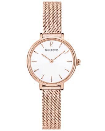 Montre Femme NOVA Cadran Blanc Bracelet Acier milanais Doré rose