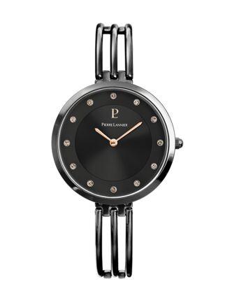 Montre Femme LIBERTY Cadran Noir Bracelet Acier Noir