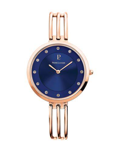 Montre Femme LIBERTY Cadran Bleu Bracelet Acier Doré rose