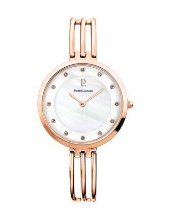 Montre Femme LIBERTY Cadran Blanc Bracelet Acier Doré rose
