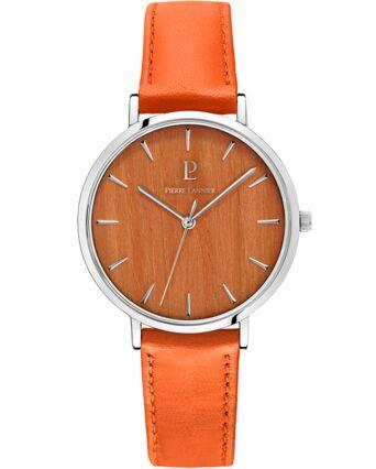 Montre Femme NATURE Cadran Orange Bracelet Cuir Orange
