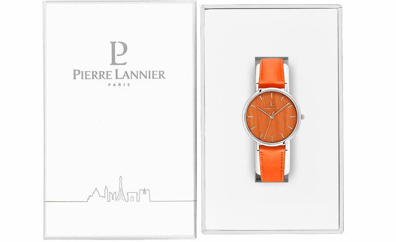 Quartz Ladies Watch NATURE Orange Dial Orange Leather Strap