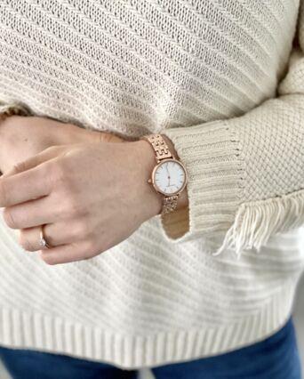 Montre Femme NOVA Cadran Blanc Bracelet Acier Doré-rose