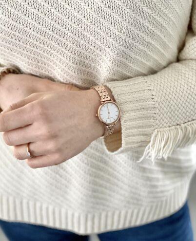 Quartz Ladies Watch NOVA White Dial Rose Gold Steel Strap