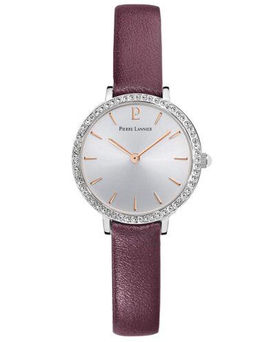 Montre Femme NOVA Cadran Argenté Bracelet Cuir Prune