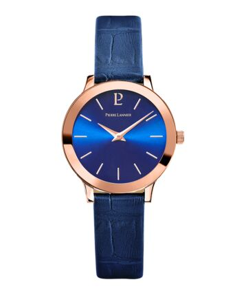 Montre Femme LIGNE PURE Cadran Bleu Bracelet Cuir Bleu
