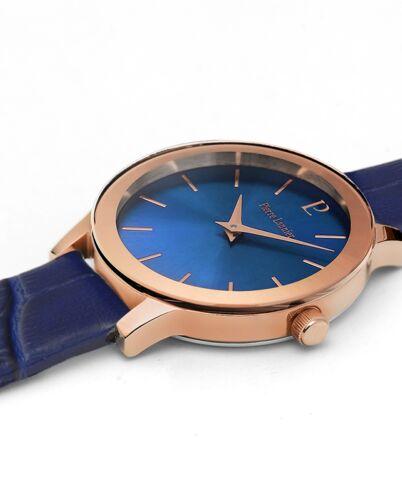 Quartz Ladies Watch LIGNE PURE Blue Dial Blue Leather Strap