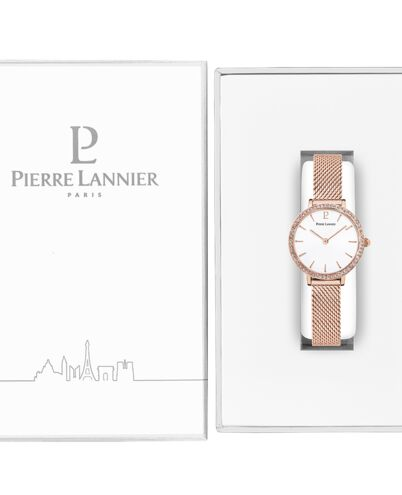 Montre Femme NOVA Cadran Blanc Bracelet Acier Milanais Doré-rose