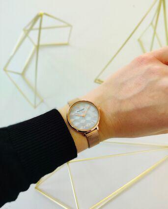 Montre Femme MIRAGE Cadran Blanc Bracelet Acier Milanais Doré-rose
