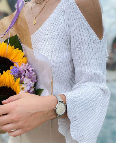 Montre Femme ECHO Cadran Argenté Bracelet Acier Milanais Argenté