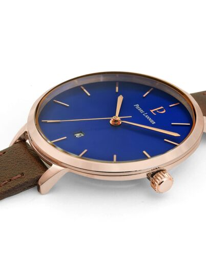 Montre Femme ECHO Cadran Bleu Bracelet Cuir Brun