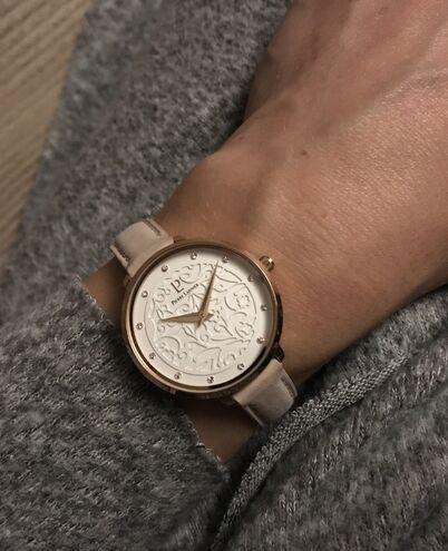 Quartz Ladies Watch EOLIA White Dial Rose Gold colour Leather Strap