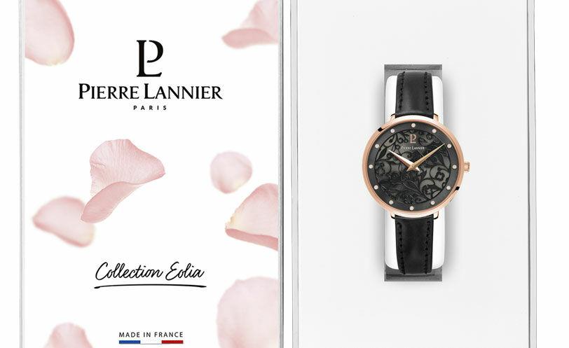 Quartz Ladies Watch EOLIA Grey Dial Black Leather Strap