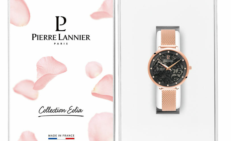Quartz Ladies Watch EOLIA Grey Dial Rose Gold colour Mesh steel Strap