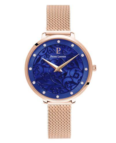 Montre Femme EOLIA Cadran Bleu Bracelet Acier milanais Doré rose