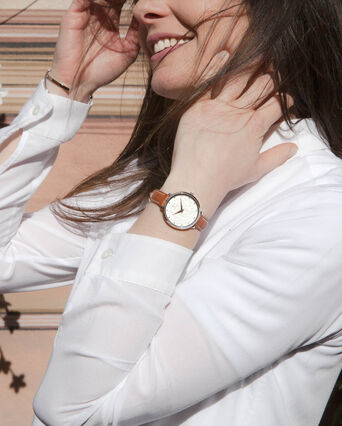 Montre Femme EOLIA Cadran Blanc Bracelet Cuir Brun