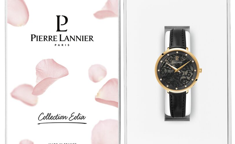 Montre Femme EOLIA Cadran Gris Bracelet Cuir noir