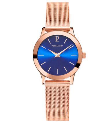 Montre Femme LIGNE PURE Cadran Bleu Bracelet Acier Doré rose