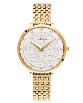 Montre Femme EOLIA Cadran Blanc Bracelet Acier Doré