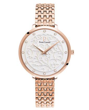 Montre Femme EOLIA Cadran Blanc Bracelet Acier Doré rose