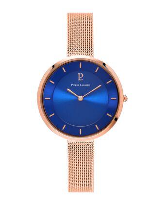 Montre Femme LIBERTY Cadran Bleu Bracelet Acier milanais Doré rose