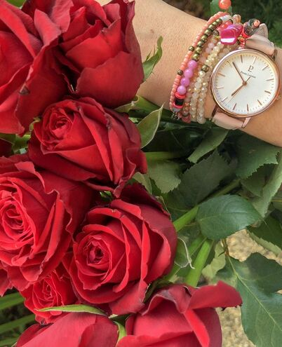Montre Femme SYMPHONY Cadran Blanc Bracelet Cuir Rose